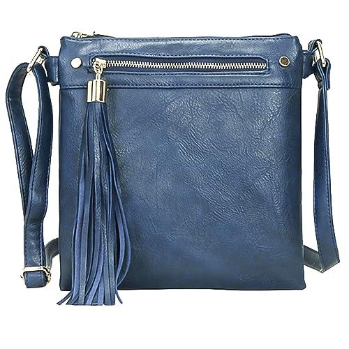 85044d6a5abd Big Handbag Shop Womens Medium Size Trendy Messenger Cross Body Shoulder Bag