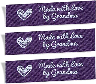 Wunderlabel Made with Love by Grandma Granny Granma Mix Thread Craft Art Fashion Woven Ribbon Ribbons Tag Clothing Sewing Sew Clothes Garment Fabric Material Embroidered, White on Purple, 25 Labels