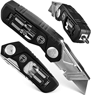 Folding Utility Knife, Box Cutter W/Screwdriver & Bits Wire Stripper Tool, Quick Release Replaceable Blades & Safe Lock, Heavy Duty with Belt Clip, Easy Pocket Storage W/Refills