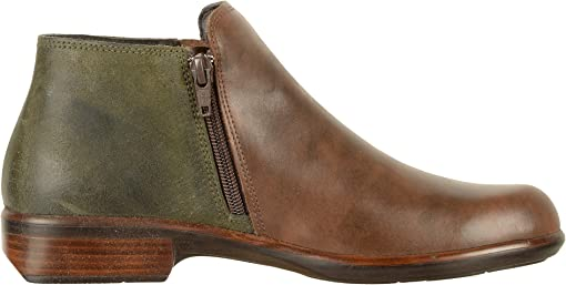 Pecan Brown Leather/Oily Olive Suede