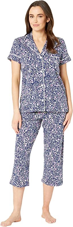 Short Sleeve Notch Collar Capris Pajama Set