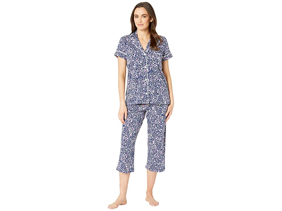 LAUREN Ralph Lauren Short Sleeve Notch Collar Capris Pajama Set (Navy Floral Print) Women