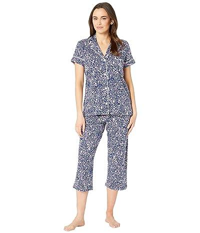 LAUREN Ralph Lauren Short Sleeve Notch Collar Capris Pajama Set (Navy Floral Print) Women
