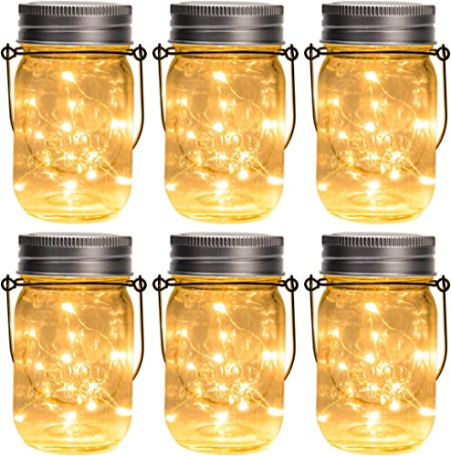 GIGALUMI Hanging Solar Mason Jar Lid Lights, 6 Pack 30 Led String Fairy Lights Solar Laterns Table Lights, 6 Hangers ...