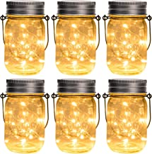 GIGALUMI Hanging Solar Mason Jar Lid Lights, 6 Pack 15 Led String Fairy Lights Solar Laterns Table Lights, 6 Hangers and Jars Included. Great Outdoor Lawn Décor for Patio Garden, Yard and Lawn.