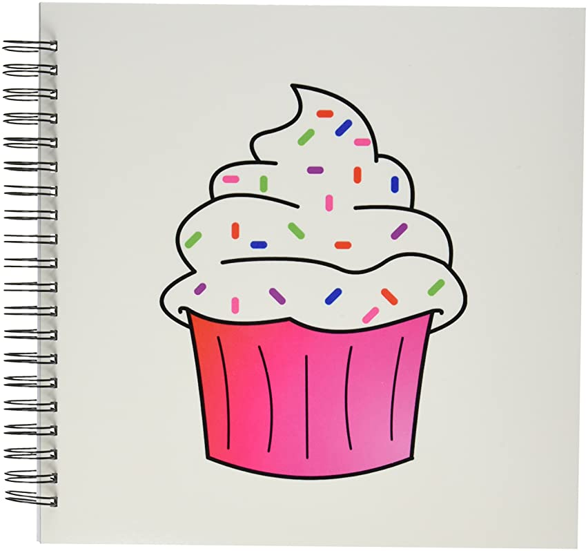 3dRose db_43137_2 Yummy Pink Cupcake Cartoon White Frosting with Sprinkles-Memory Book, 12 by 12-Inch