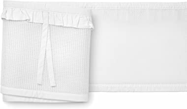 BreathableBaby Deluxe Patented, Safer for Baby, Anti-Bumper, Non-Padded, Breathable Mesh Crib Liner – White Ruffle