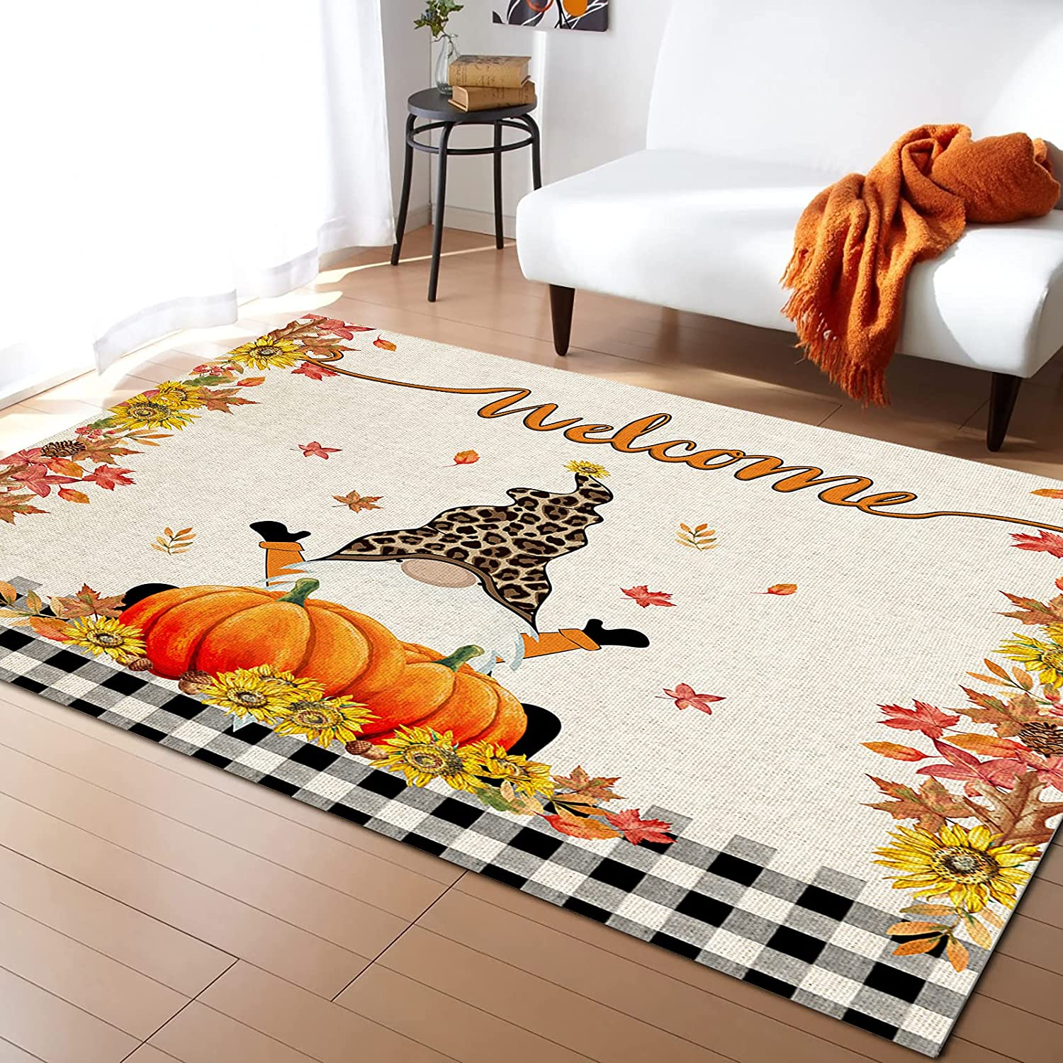 LEOSUCRE Free shipping Latest item Large Area Rugs 5' x Pumpkin Thro 7' Gnome Thanksgiving