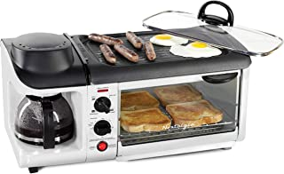 NOSTALGIA BSET300WH Retro 3-in-1 Family Size Breakfast Station, Coffeemaker, Griddle, Toaster Oven, Pearl White