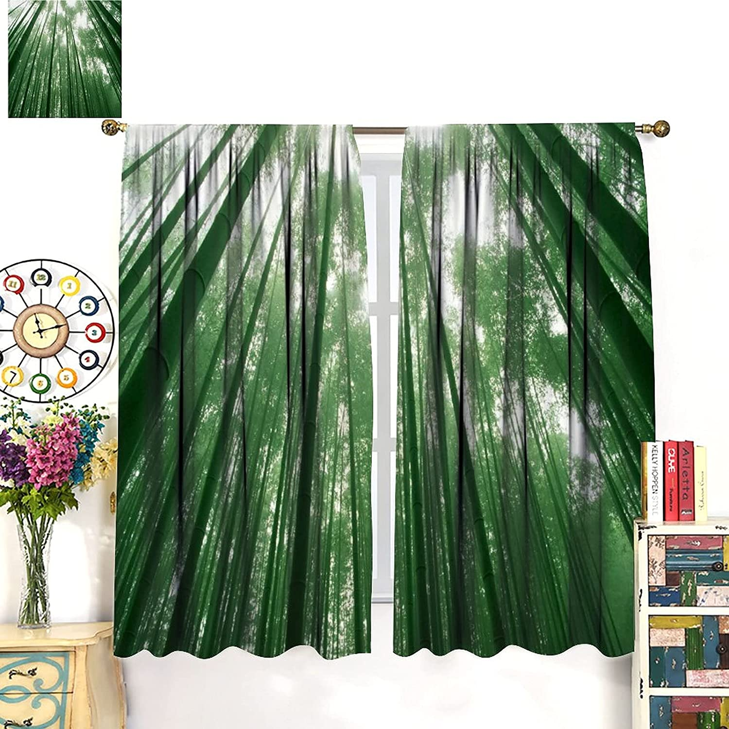 Bamboo Surprise price Curtains,Jungle Green Forest Pattern Scene Print mart