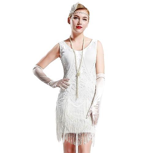 81f6c42b13d0 BABEYOND 1920s Flapper Dress Roaring 20s Great Gatsby Costume Dress Fringed  Embellished Dress