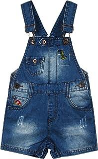 Kidscool Space Baby & Little Boys Dinosaur Car Embroidered Ripped Fashion Denim Shortalls