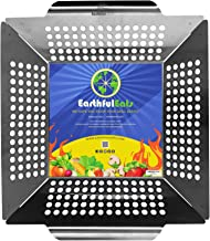 EarthfulEats Grilling Basket Stainless Steel 12x12 Inch with Handles and Rounded Corners - Perfect for Cooking Vegetables Beef Chicken Fish on Gas Charcoal Grill and Campfire