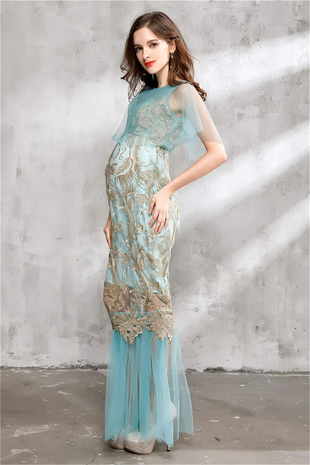 Maternity Skirt Mesh Embroidery Photography Props Wrapped Full Body Dress Female Special Occasions Lady Pregnancy