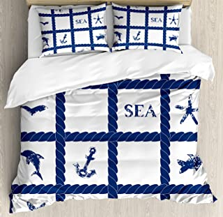 Ambesonne Navy Blue Duvet Cover Set, Navy Yacht Vessel Rope Used as Frame with Starfish Fish and Anchor Image, Decorative 3 Piece Bedding Set with 2 Pillow Shams, Queen Size, Navy Blue