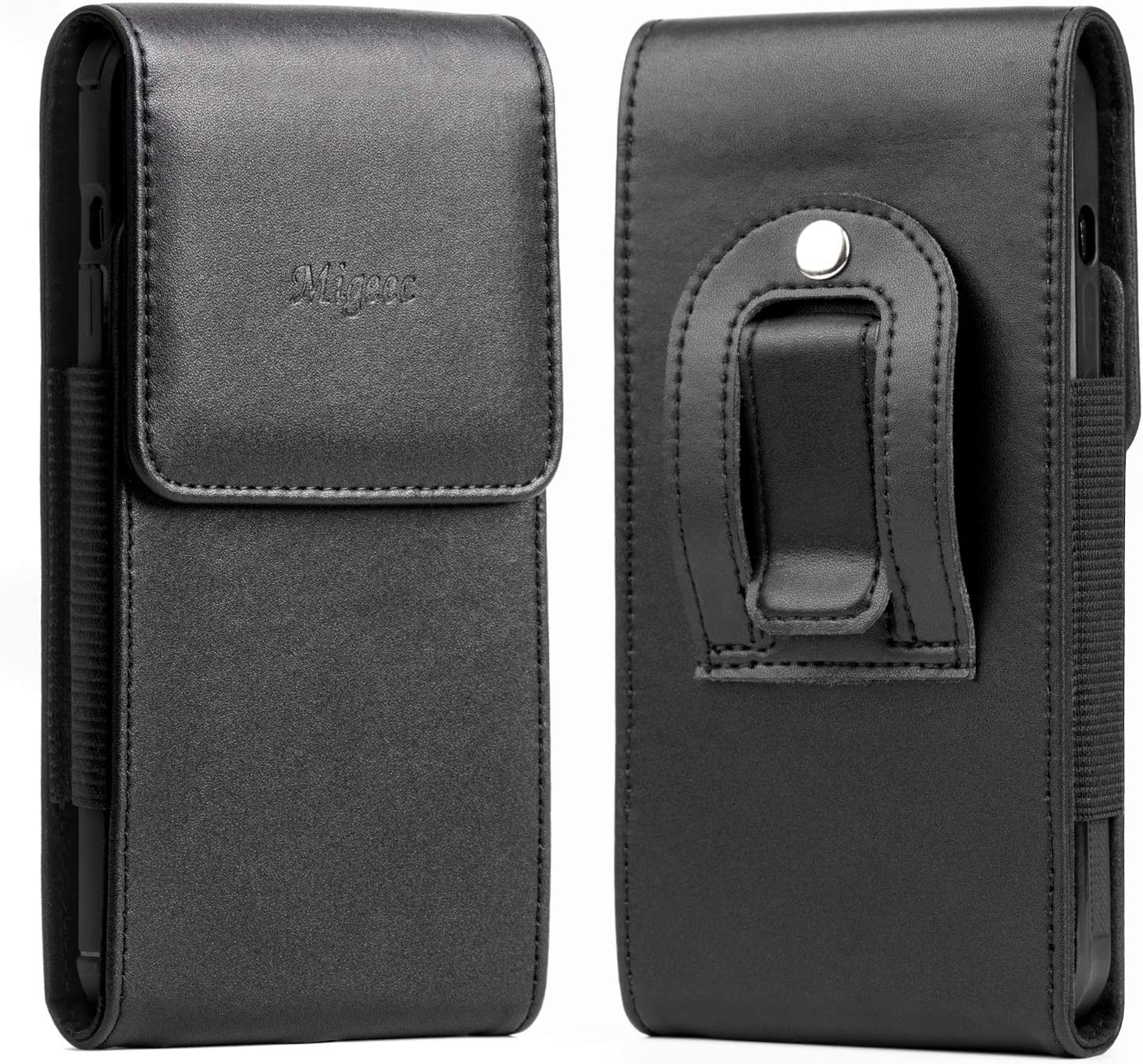 Migeec Cell Phone Pouch Holster Case with Belt Clip and Belt Loop [Magnetic Closure] PU Leather Case Compatible with iPhone/Galaxy/Stylo/Android Phone (Up to 6.5 inch Device) (Black)