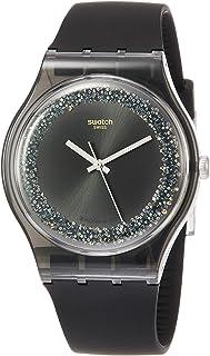 Swatch Men's Quartz Watch with Silicone Strap, Black, 19 (Model: SUOB156)