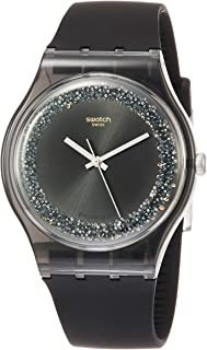 Swatch Darksparkles Sun-Brushed Black Dial Ladies Watch SUOB156