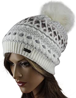 LA-EL COUTURE Womens Elegant Knitted with small brooch Beanie warm