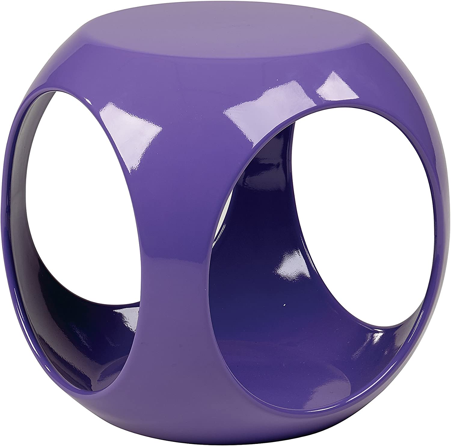 Ave Six Slick High Gloss Finish Cube Occasional Table, Purple