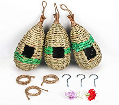 NEKLJJ Hummingbird Bird House for Outdoor Hanging - Bird House for Outside with Hooks and Ropes and Artificial Flowers Set of 3