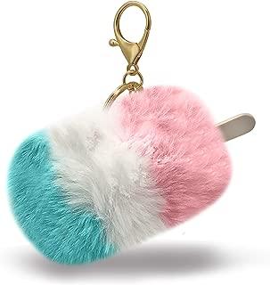 Kawaii Cotton Candy Sky Ice Cream Popsicle with Stick Fun Fuzzy Pom Summer Keychain Bag Charm