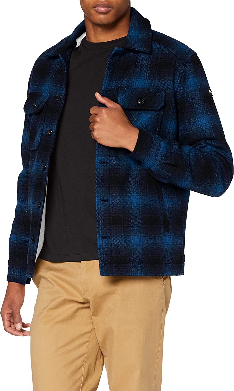 Schott NYC Mens TIMBER1 Sherpa Lined Check Jacket Blue 3XL