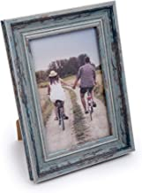 """CTG Decorative Beautiful Distressed Wooden Look Countertop Picture Frame, 4"""" x 6"""", Light Blue"""