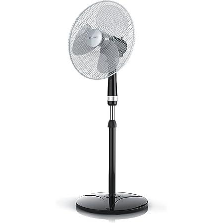 Brandson - Ventilateur sur Pied - 50W - 40 cm de diamètre - Hauteur Ajustable - Trois Vitesses - pales aérodynamiques - Fonction Oscillation 80degrés - Noir Argent