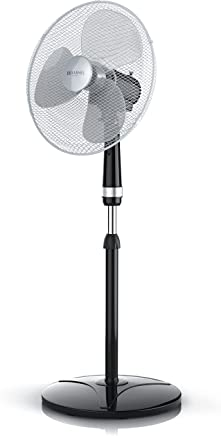 Brandson - Ventilateur sur Pied | 50W | 40 cm de diamètre | Hauteur Ajustable | Trois Vitesses | pales aérodynamiques | Fonction Oscillation 80° | Noir/Argent