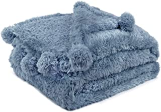 PAVILIA Sherpa Pom Pom Throw Blanket | Fluffy Fleece Throw Blanket for Couch Sofa Bed | Shaggy Fuzzy Plush Soft Lightweigh...