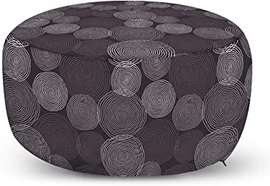 Ambesonne Abstract Ottoman Pouf, Modern Design of Hand Drawn Intricate Circles, Decorative Soft Foot Rest with Removable Cover Living Room and Bedroom, Eggplant Purple Grey