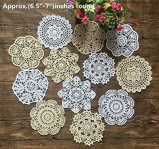 Mindplus 12pcs 100% Cotton Hand Made Crochet Doilies 6.5-7 inches Round White Beige Vintage Wedding Tea Party