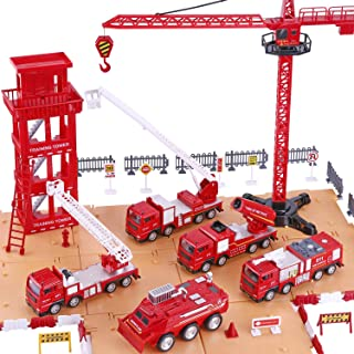 iPlay, iLearn Fire Truck Play Set, Firefighting Engine, Emergency Rescue Vehicles w/ Station, Extending Ladder, Educational Learning Toys, Gift for 3, 4, 5, 6 Year Old Boys, Toddlers, Kids