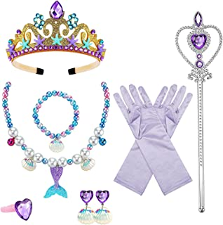 8 Pcs Mermaid Crown Children's Jewelry Princess Dress Up Set Mermaid Birthday Present Mermaid Dress Up Party Supplies Hall...