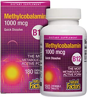 Natural Factors, Vitamin B12 Methylcobalamin 1000 mcg, Chewable Support for Energy and Immune Health, Vegetarian, 180 tabl...