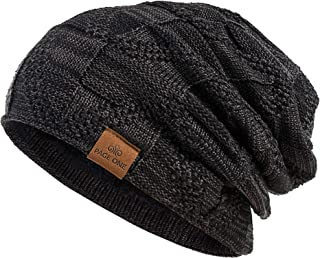 Mens Ladies Plain Ski Woven Warm Winter Knitted Slouch Beanie Hat Cap New H