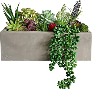 GreenBoxx Artificial Succulent Planter Arrangement Garden 16 Pcs - Faux Succulents Pre-Made Cement Box Artificial Plant Decorative Fake Plants for Home Table Centerpiece, Window Display, Wedding Décor