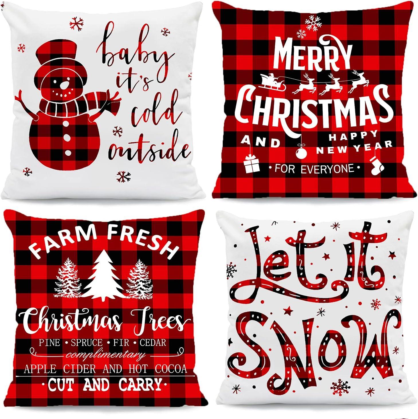 4Pcs Christmas Throw Pillow Covers, Buffalo Plaid Soft Christmas Pillowcases Xmas Winter Holiday Cushin Covers for Home, Sofa, Christmas Decor Throw Pillow Covers-18x18''