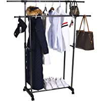 OBOR 2 Tier Double Rods Clothes Garment Rack with Wheels