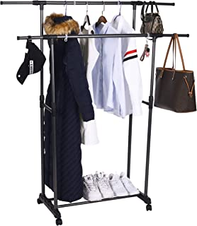 OBOR Clothes Garment Rack with Wheels 2 Tier Double Rods Height Adjustable Extendable Rods Clothing Hanging Drying Rack Organizer
