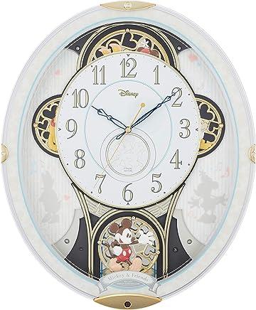 ディズニー ミッキー&フレンズ 掛け時計 電波時計 からくり時計 メロディ付き 白 リズム時計 M509 4MN509MC03