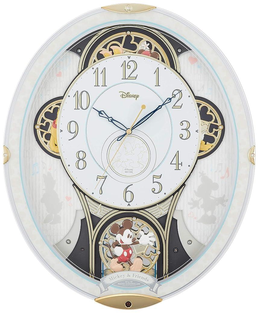 プット煩わしい顧問ディズニー ミッキー&フレンズ 掛け時計 電波時計 からくり時計 メロディ付き 白 リズム時計 M509 4MN509MC03