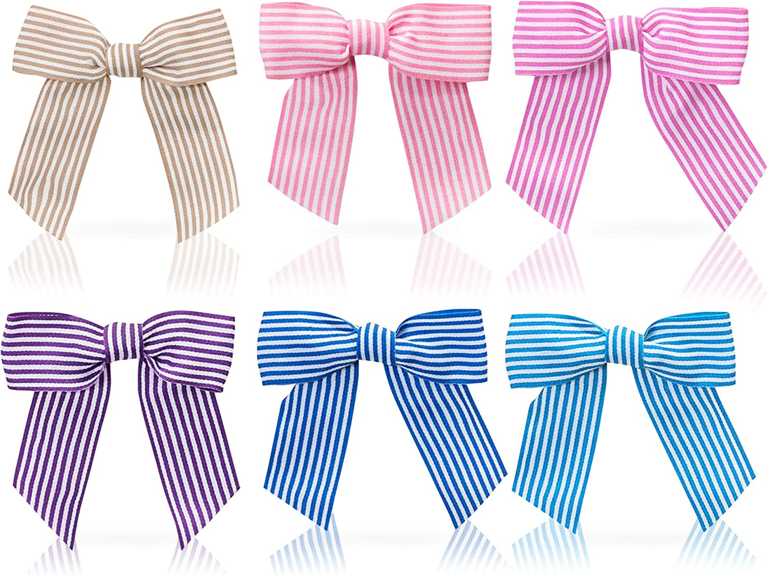 Baby Girl Grosgrain Bow Hairclip Barrettes- 3 Inch Size, Striped Design- Stylish Hair Accessories, Cute Hair Clips for Toddlers, Infants, Children- Soft Nylon Bow, Alligator Clip, Mini Size-XX Set