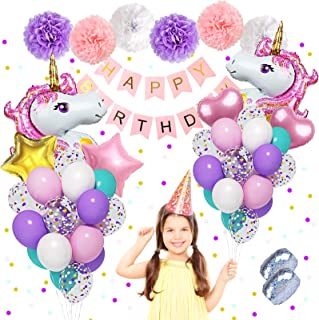 Unicorn Birthday Party Supplies, 40'' 18'' Big Foil Unicorn Balloons 12'' Confetti Purple Pink Blue Latex Balloons Set with Happy Birthday Banner Paper Pom Poms for Unicorn Birthday Decorations for Girls & 2 Pcs Ribbons