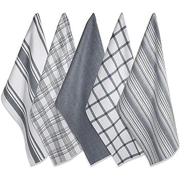 """DII Juego de 5 toallas para platos, de gran tamaño, ultraabsorbentes, de grado profesional, de lujo, para uso diario, 45.7 x 71.1 cm, color gris, Gris, 18 x 28"""", 1"""