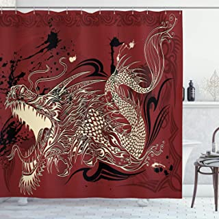 Ambesonne Dragon Shower Curtain, Angry Dragon Doodle on Grunge Background Japanese Eastern Ethereal Pattern Print, Cloth Fabric Bathroom Decor Set with Hooks, 70