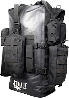 Drakon Outdoors 40L Waterproof Dry Bag Survival Backpack - Roll Top Go-Bag Perfect for Hunting, Camping, Boating, Kayaking - Black Padded Adjustable Straps With MOLLE System