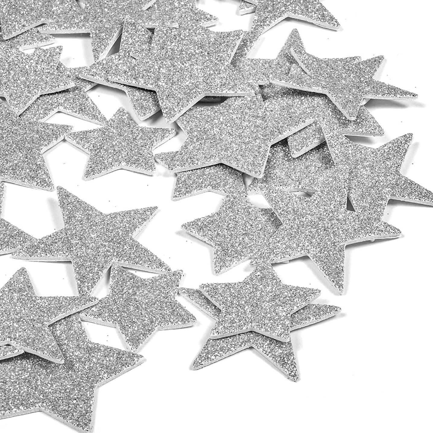 6 Pack Foam Star Stickers Glitter 3D Silver Letter Stickers for Kids Girls,Cute Photo Stickers Laptop Stickers Happy Planner Stickers for DIY Arts and Crafts,Daily Planner (Silver Star)