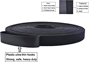 82ft Reusable Fastening Tape, Hook and Loop Cable Tie Strap Ultra Thin and Strong Roll 27 Yard Black, Wire Cord Wrap Management Organizer, No Harm to Hands, Never Drop Hooks (10mm (2/5 inch))